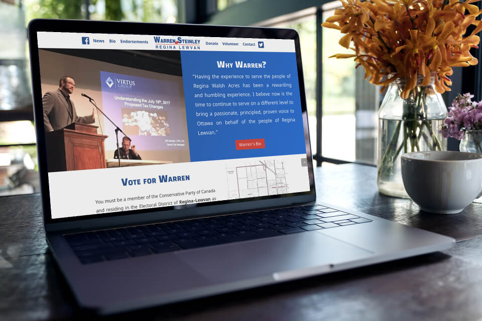 Warren Steinley is running for MP so we developed another website for him.
