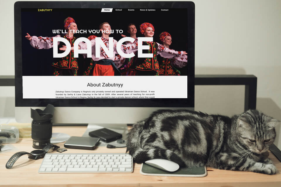 Zabutnyy is a dance school in Regina SK, and a web design client of ours.