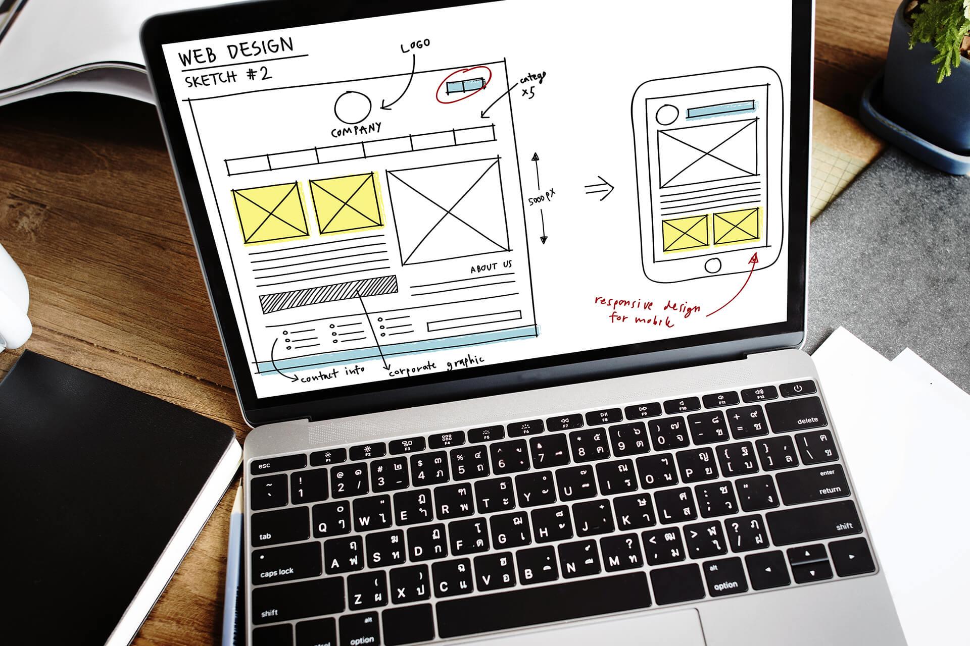 Mockup design for a custom website on a laptop.