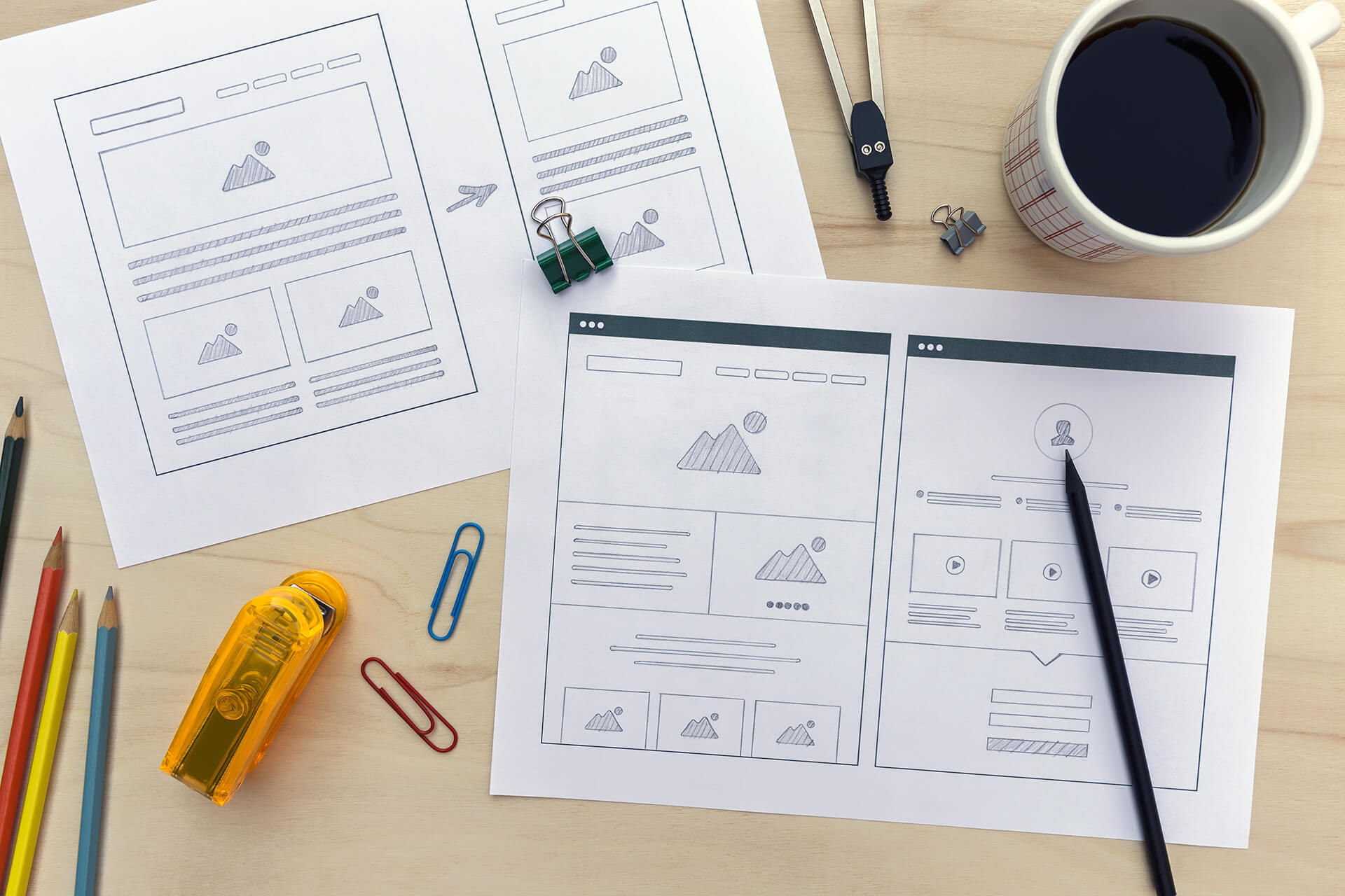 Website mockup using wireframe prototyping