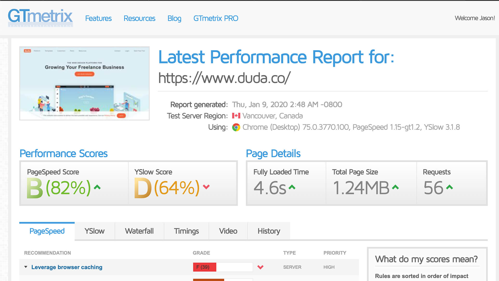 DudaOne's own website has a slow load time.