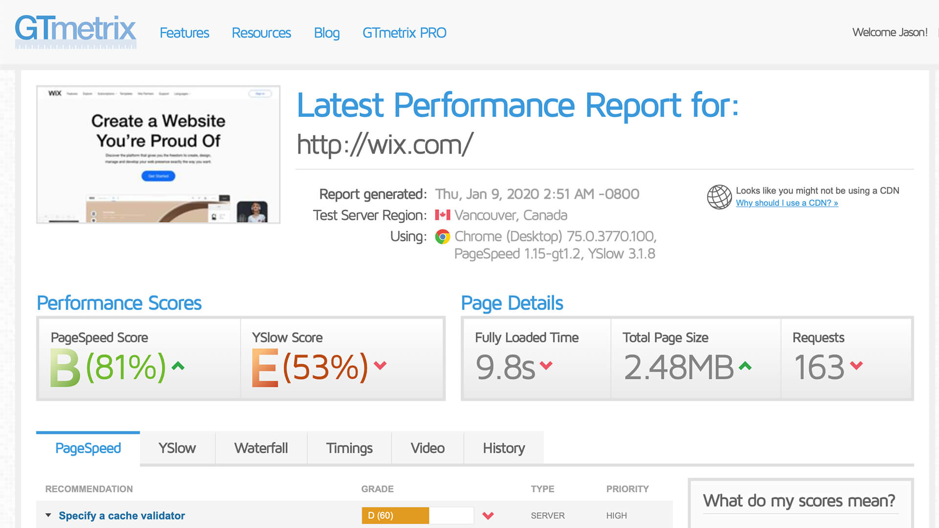 Wix's own home page has a ridiculously slow load time.